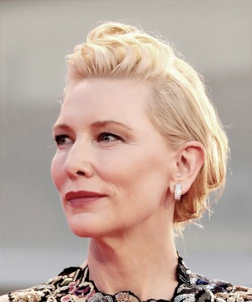Cate Blanchett Medium Straight   Light Blonde Asymmetrical Updo    - Side View
