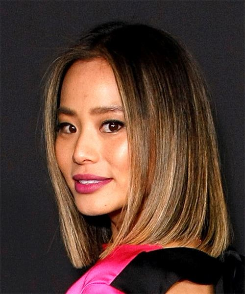 Jamie Chung Medium Straight    Brunette and  Blonde Two-Tone Bob  Haircut with Blunt Cut Bangs  - Side View