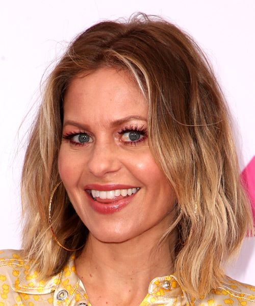 Candace Cameron Medium Straight Layered   Brunette Bob  Haircut   with Light Blonde Highlights - Side View