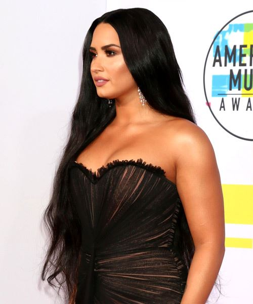 Demi Lovato Long Straight   Black    Hairstyle   - Side View