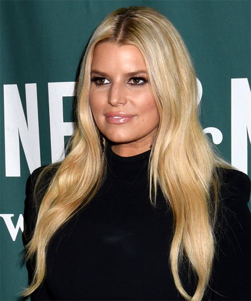 Jessica Simpson Long Straight    Blonde   Hairstyle   - Side View