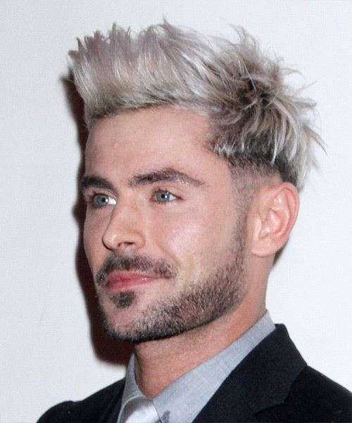 Zac Efron Short Straight   Light Blonde and Black Two-Tone   Hairstyle   - Side View