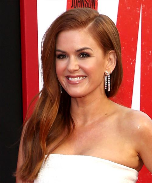Isla Fisher Long Straight    Red   Hairstyle with Side Swept Bangs  and Light Red Highlights - Side View
