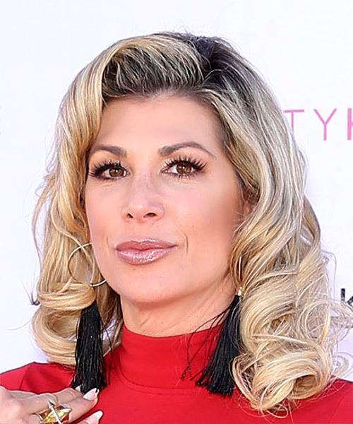 Alexis Bellino Medium Curly   Light Brunette   Hairstyle with Side Swept Bangs  and Light Blonde Highlights - Side View