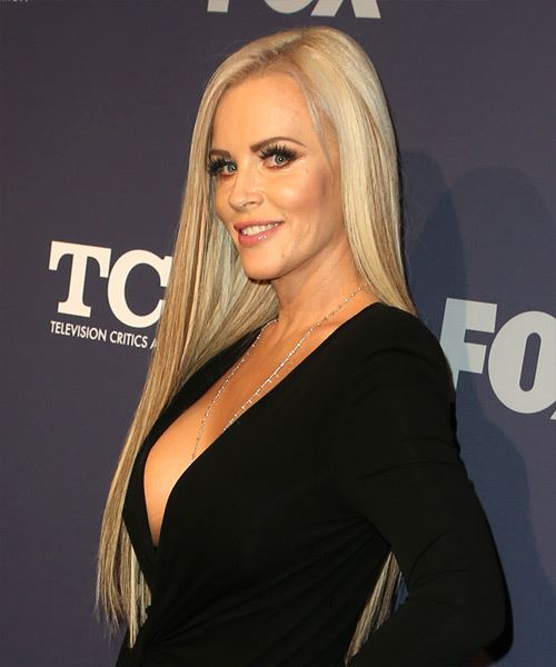Jenny McCarthy Long Straight    Blonde   Hairstyle with Side Swept Bangs  and Light Blonde Highlights - Side View