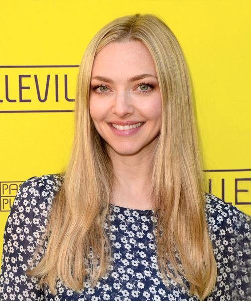 Amanda Seyfried Long Straight    Blonde   Hairstyle   with Light Blonde Highlights - Side View
