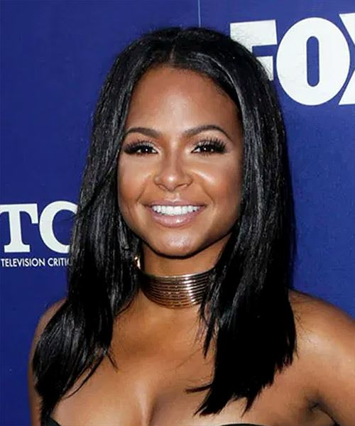 Christina Milian Long Straight   Black  Asymmetrical  Hairstyle with Blunt Cut Bangs  - Side View