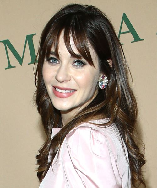 Zooey Deschanel Long Wavy    Brunette   Hairstyle with Blunt Cut Bangs  and  Blonde Highlights - Side View