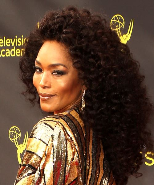 Angela Bassett Long Curly   Black  Afro  Hairstyle   - Side View