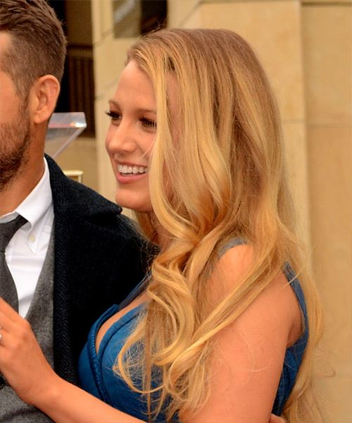Blake Lively Long Straight    Blonde   Hairstyle with Side Swept Bangs  and Light Blonde Highlights - Side View