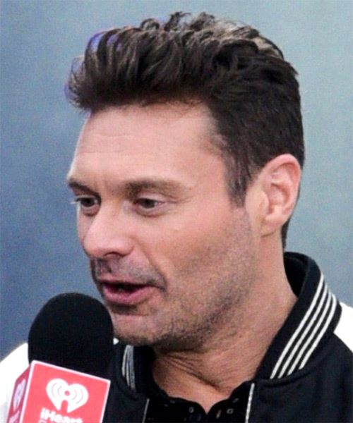 Ryan Seacrest Short Straight   Dark Brunette   Hairstyle   - Side View