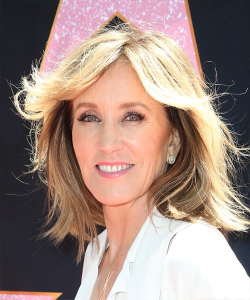 Felicity Huffman Medium Straight    Chocolate Blonde   Hairstyle with Blunt Cut Bangs  - Side View