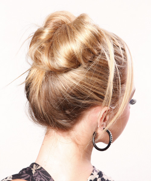 Long Straight    Blonde  Updo    - Side View