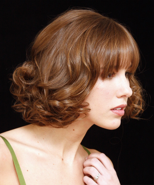 Updo Medium Curly Formal Wedding Updo Hairstyle with Blunt Cut Bangs  - Light Red (Copper) - Side View