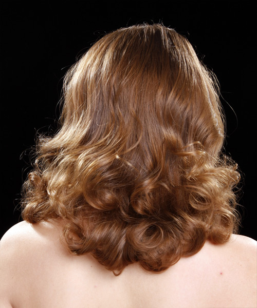 Medium Curly Formal    Hairstyle   - Medium Caramel Brunette Hair Color - Side View