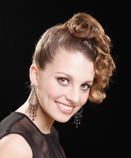 Long Curly Formal   Updo Hairstyle   - Light Caramel Brunette Hair Color - Side View
