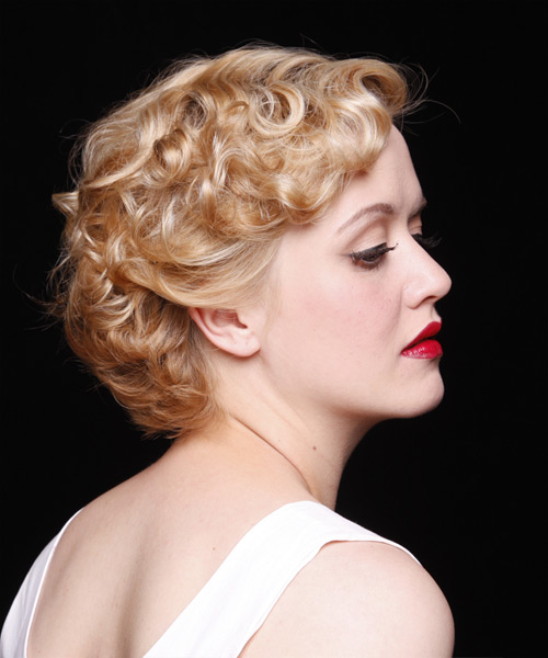 Short Wavy Formal    Hairstyle   - Medium Strawberry Blonde Hair Color - Side View