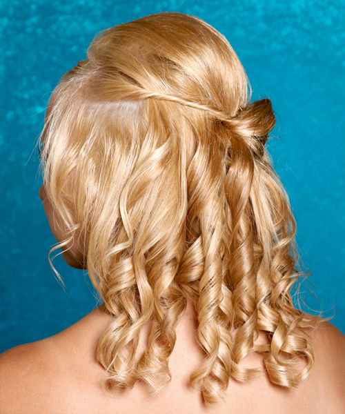 Medium Curly Formal   Updo Hairstyle   - Medium Honey Blonde Hair Color - Side View