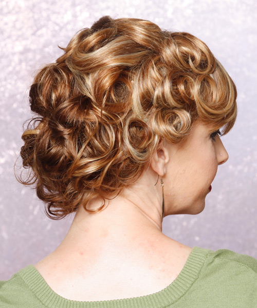 Medium Curly    Updo    - Side View