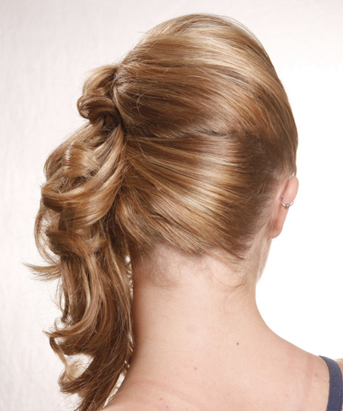 Half Up Long Curly Casual Wedding Half Up Hairstyle   - Medium Blonde (Golden) - Side View