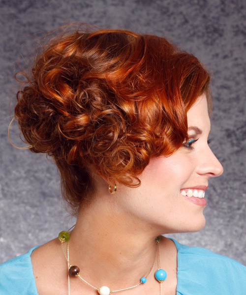 Short Curly Formal    Hairstyle   - Dark Copper Red Hair Color - Side View