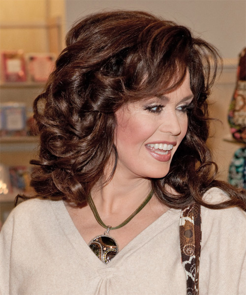 Marie Osmond Long Wavy Formal   Hairstyle   - Side View