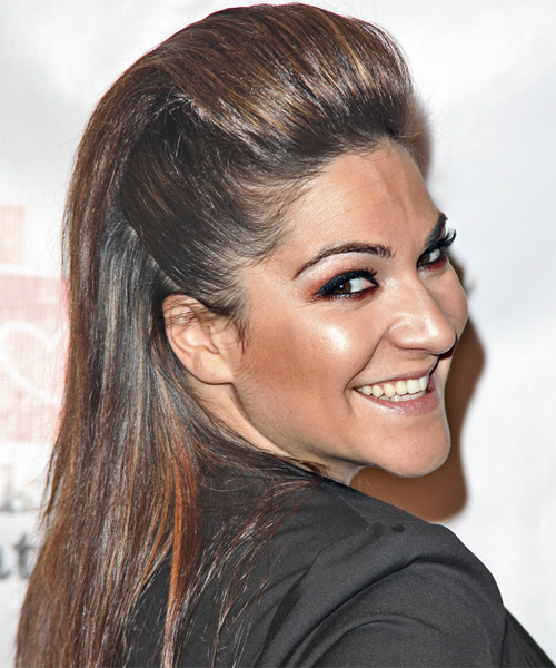 Shoshana Bean Half Up Long Straight Casual  Half Up Hairstyle   - Side View