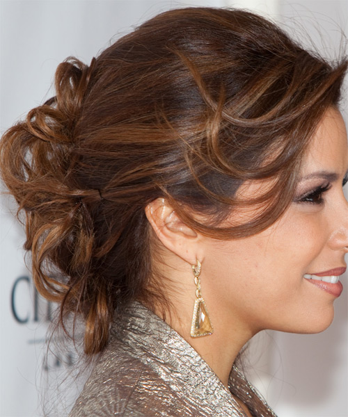 Eva Longoria Parker  Long Curly Formal   Updo Hairstyle   -  Chocolate Brunette Hair Color - Side View