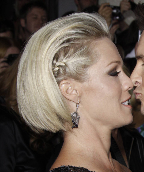 Jennie Garth Medium Straight Plaited Half Up Bob Hairstyle