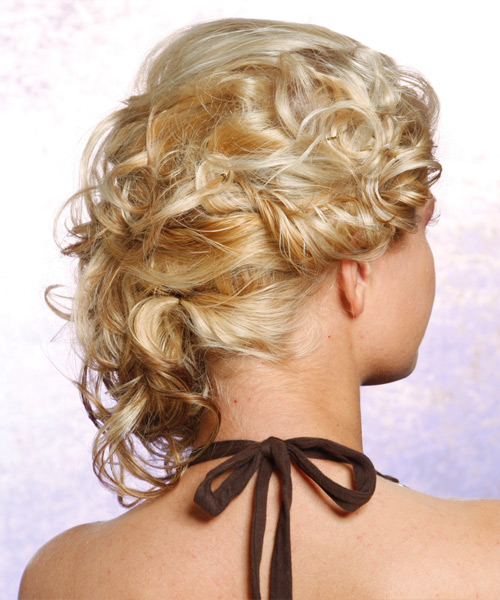 Long Curly Formal   Updo Hairstyle   - Light Chestnut Blonde Hair Color - Side View