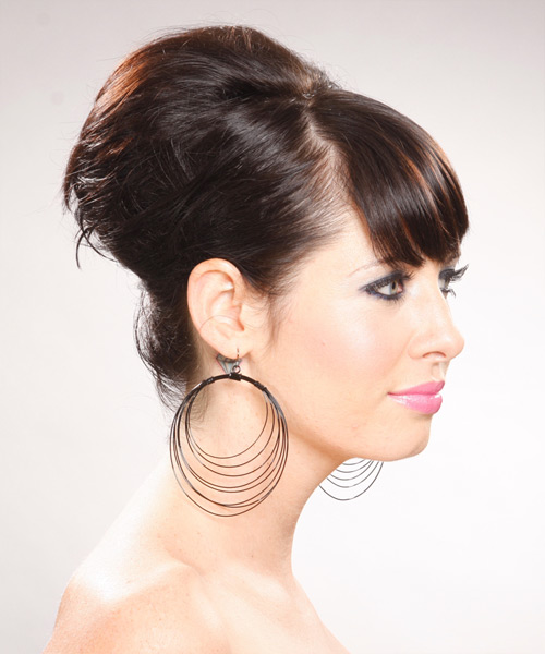 Long Straight Formal   Updo Hairstyle with Side Swept Bangs  - Dark Chocolate Brunette Hair Color - Side View
