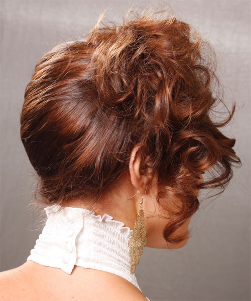 Updo Medium Curly Formal  Updo Hairstyle   - Side View
