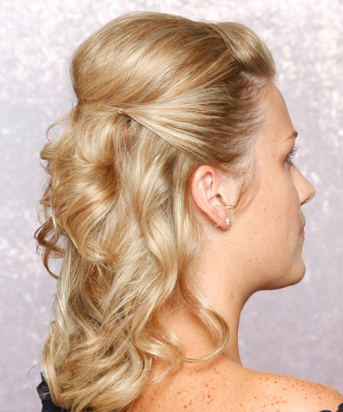 Long Curly Formal   Half Up Hairstyle   - Golden Hair Color - Side View