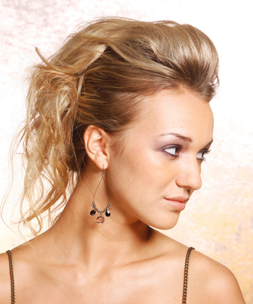 Long Straight   Dark Blonde  Updo    - Side View