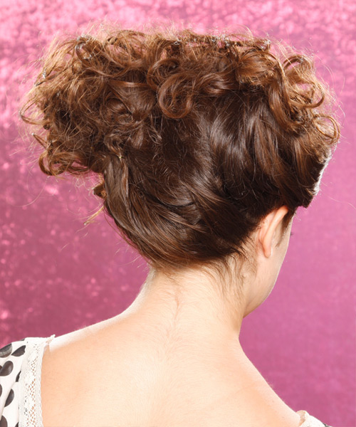 Long Curly Casual   Updo Hairstyle   - Medium Chocolate Brunette Hair Color - Side View