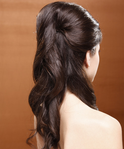 Long Curly Formal   Half Up Hairstyle   - Medium Chocolate Brunette Hair Color - Side View