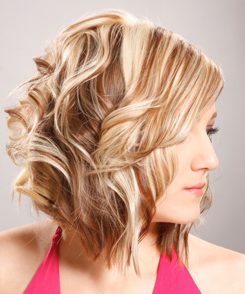 Medium Wavy   Light Blonde   Hairstyle with Side Swept Bangs  - Side View