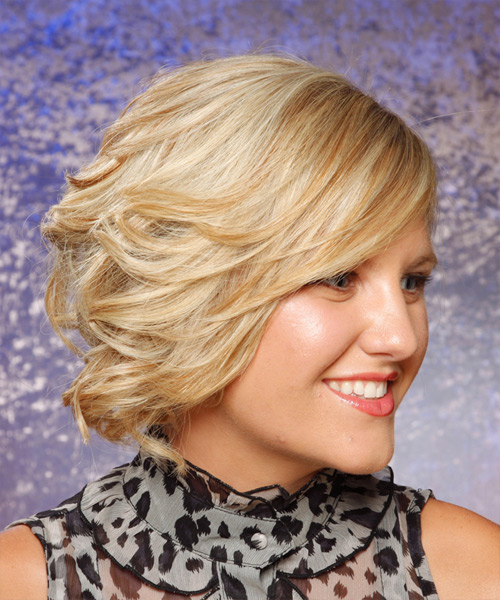 Medium Curly Formal   Updo Hairstyle   - Light Blonde Hair Color - Side View