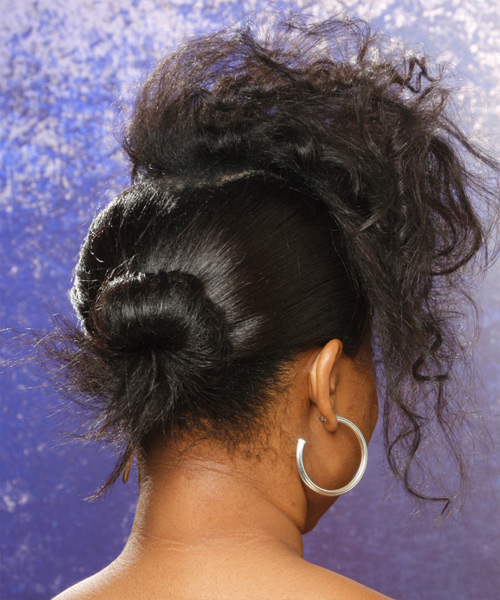 Long Curly Alternative  Updo Hairstyle   - Black - Side View