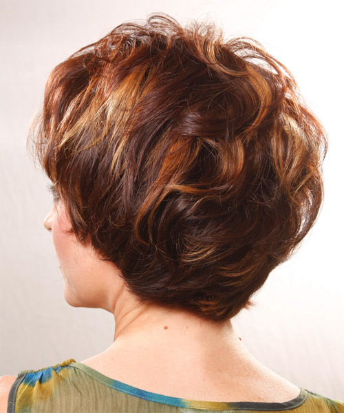 Short Straight Casual    Hairstyle   - Medium Burgundy Brunette Hair Color - Side View