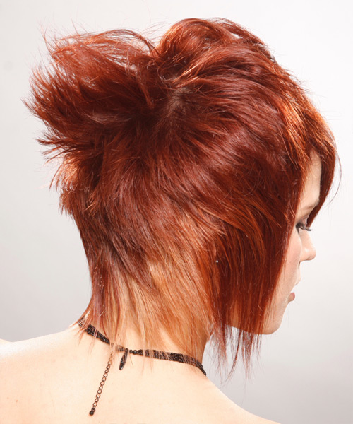 Short Straight Alternative   Hairstyle with Asymmetrical Bangs  - Medium Red (Ginger) - Side View