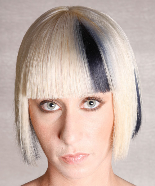Medium Straight Alternative Bob  Hairstyle with Blunt Cut Bangs  - Light Blonde (Platinum) - Side View