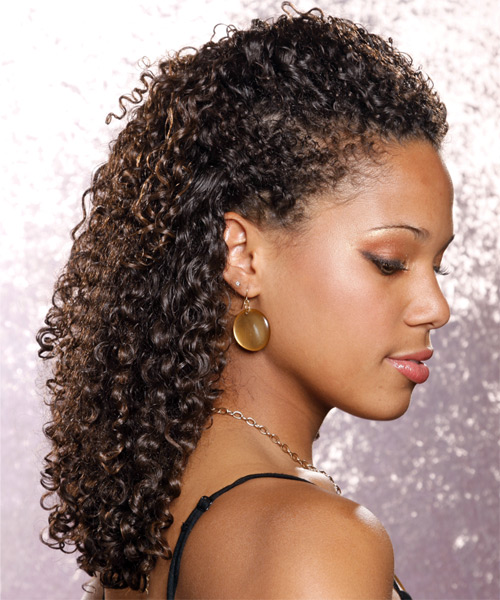 Long Curly Casual   Half Up Hairstyle   - Medium Brunette Hair Color - Side View