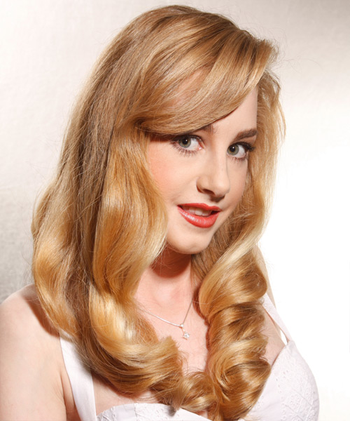 Long Wavy Formal    Hairstyle   - Medium Honey Blonde Hair Color - Side View