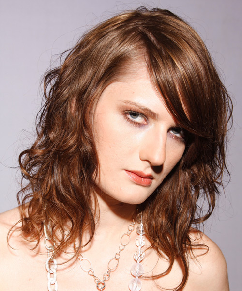 Long Wavy Alternative   Hairstyle with Side Swept Bangs  - Light Brunette (Auburn) - Side View