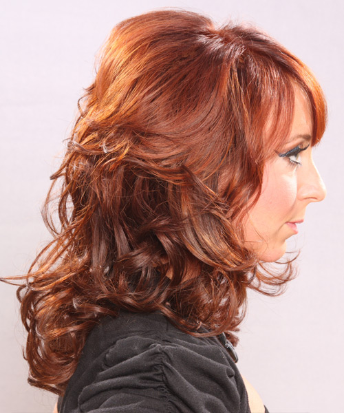 Long Curly Formal   Hairstyle with Side Swept Bangs  - Medium Red (Ginger) - Side View