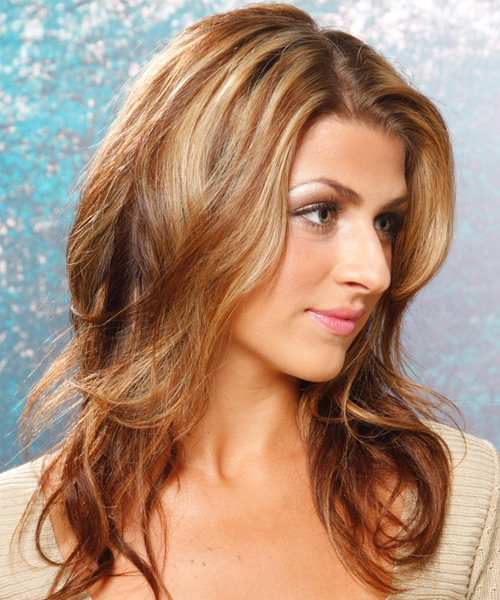 Long Wavy Casual    Hairstyle   - Light Copper Brunette Hair Color with Medium Blonde Highlights - Side View