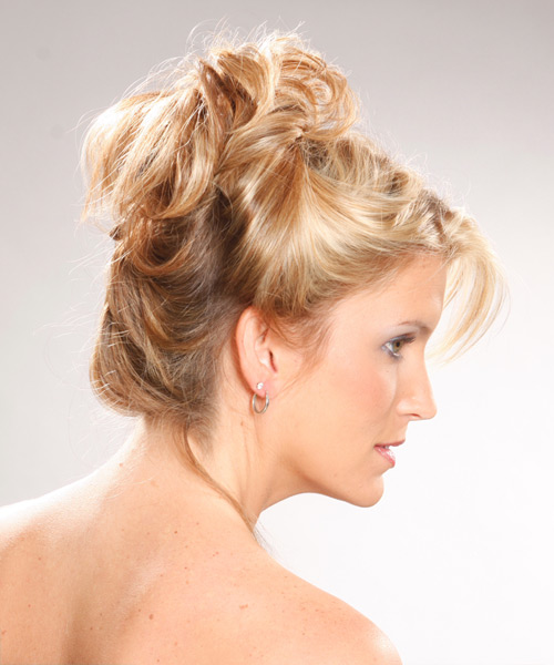 Long Curly Casual   Updo Hairstyle   - Light Golden Blonde Hair Color - Side View