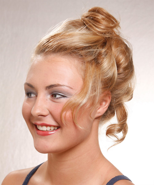 Updo Long Curly Formal  Updo Hairstyle   - Medium Blonde (Honey) - Side View