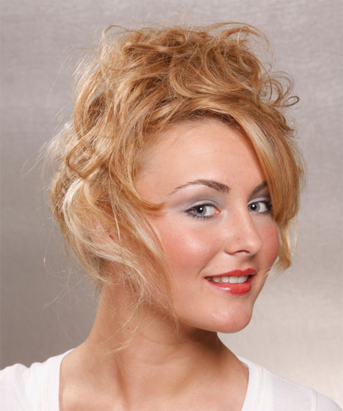 Long Curly Casual   Updo Hairstyle   -  Copper Blonde Hair Color - Side View